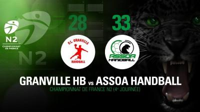 Championnat de France N2 : Grandville HB 28 – 33 ASSOA Handball