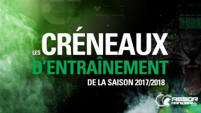 Créneaux d'entraînement – Saison 2017/2018